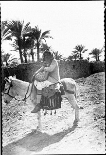 Riding a donkey, Suez, Egypt