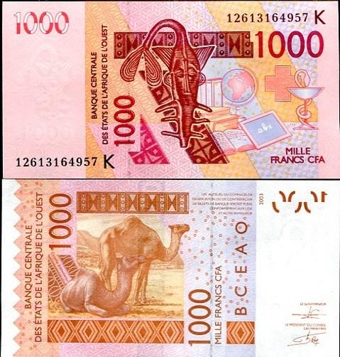 1000 Frankov Senegal 2003(2012), Pick 715K