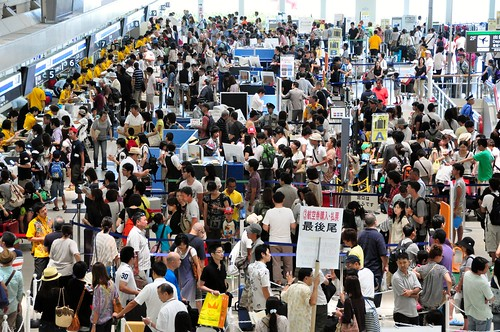 The scene at Naha Airport as visitors flee ahead of Typhoon Bolaven