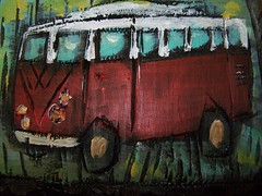 VW Bus in red by Emilyannamarie