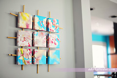 DIY canvas wall art and decor with bamboo support