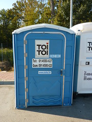 public toilet, portable toilet, blue,