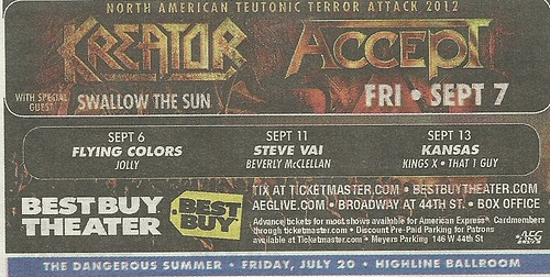 09-07-12 Kreator/ Accept/ Swallow The Sun @ Best Buy Theater, NYC, NY