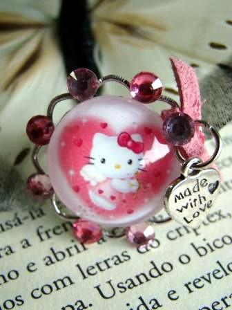 Anel Hello Kitty by kideias - Artesanato