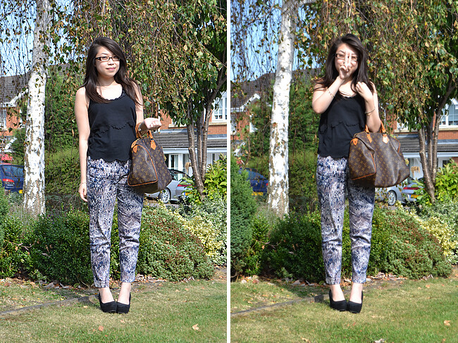 daisybutter - UK Style and Fashion Blog: what i wore, wiwt, ootd, uk fashion blogger, river island, french connection, print trend, pyjama trouser trend, louis vuitton speedy, AW12