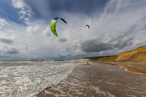 Kitesurfing at Compton Bay, Isle of Wight