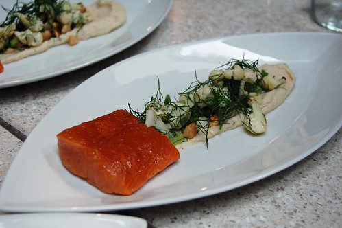 Warm Salad of Swedish Trout, Almond and Dill