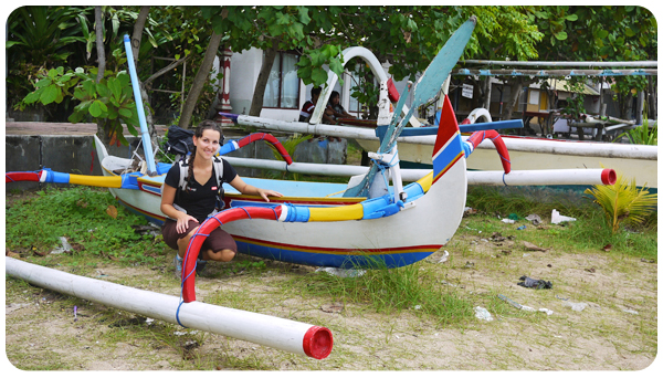 Balinese prahu boat with Morgane