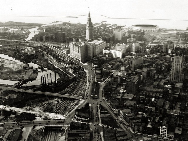 Aerial view of downtown Cleveland, circa 1931