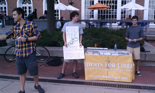 Tabling to advertise the screening