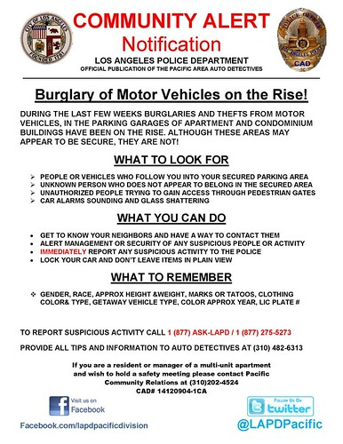 Burglary of Motor Vehicles on the Rise