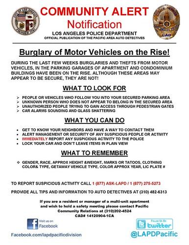 Burglary of Motor Vehicles on the Rise