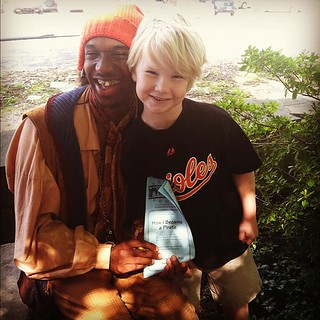 Josh with the silly pirate from the play at Pumpkin Theater this afternoon...