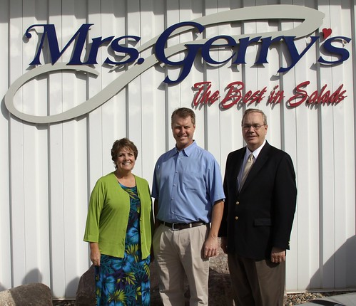 USDA Support helps Mrs. Gerry's, an Albert Lea, Minn. Business grow and create jobs. ( From left its Colleen Landkamer, USDA Rural Development Minn. State Director; Chad Vogt, Mrs. Gerry's, Inc.; and Under Secretary Dallas Tonsager.