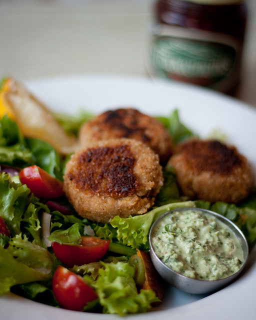 Smoked mackerel and sweet potato fishcakes with coriander coconut chutney