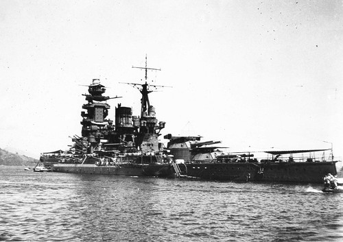Rear oblique view of INJS Nagato at anchor in Kure, August 1942