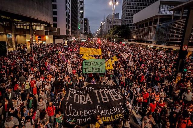 A pauta dos protestos estava focada em críticas a Temer e suas propostas - Créditos: Mídia Ninja