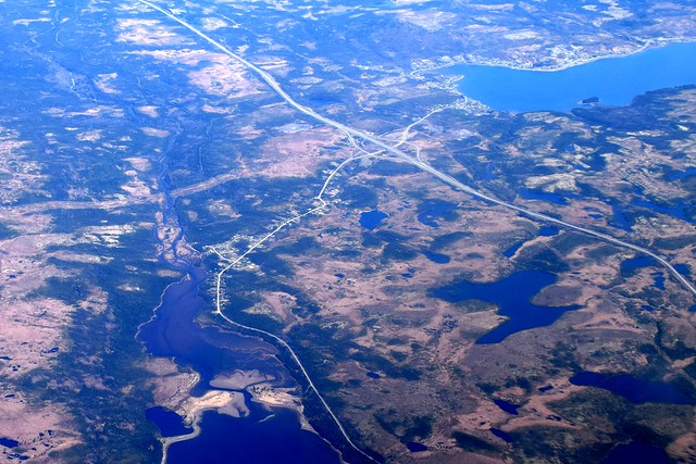 Trans Canada Highway separating Come By Chance (bottom) and Sunnyside (top), Newfoundland