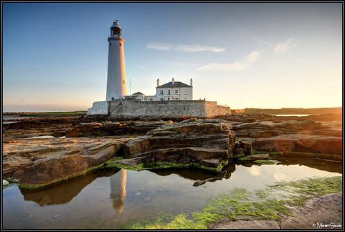light sunset lighthouse reflection rock hdr stmarys whitleybay tynewear