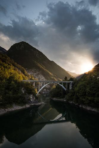 bridge sunset water landscape
