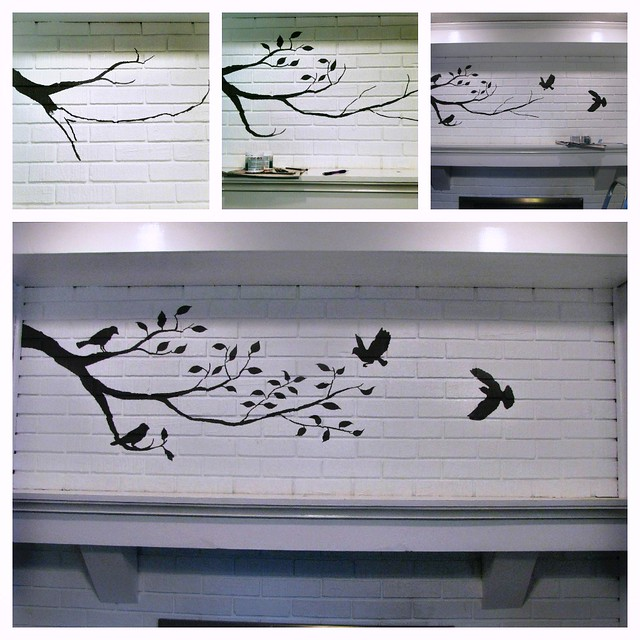 Birds and Branch Painted Fireplace