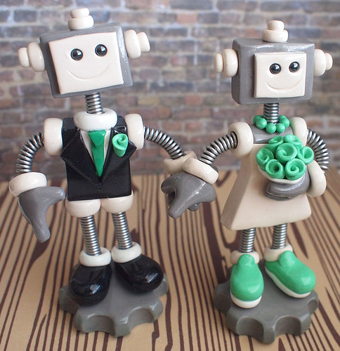 Commission: Robot Wedding Cake Topper: holding hands and slip on sneakers by HerArtSheLoves