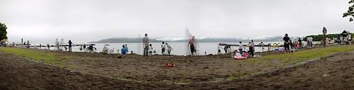 Suna-yu (dig-your-own-hotspring) at Lake Kusharo (Hokkaido, Japan)