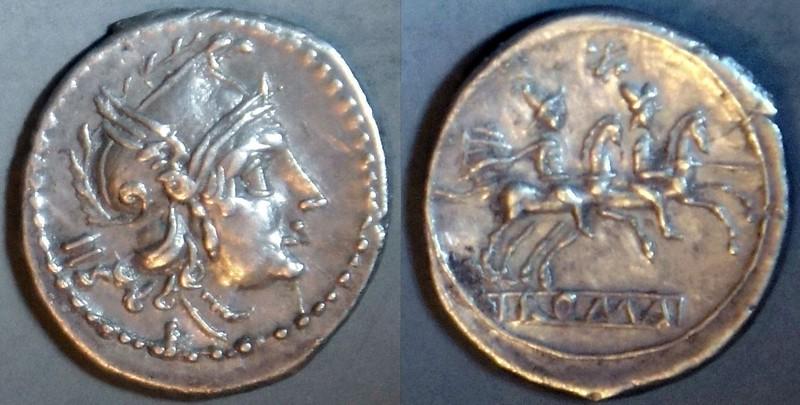 98/A4 Luceria LT Sestertius. Italic civic mint. IIS / Roma, Phrygian helmet / L; Dioscuri / ROMA. Davis collection.