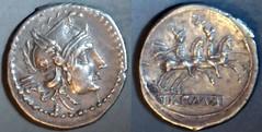 RRC 098/A4 Luceria LT Sestertius. Italic civic mint. IIS / Roma, Phrygian helmet / L; Dioscuri / ROMA. Davis collection.