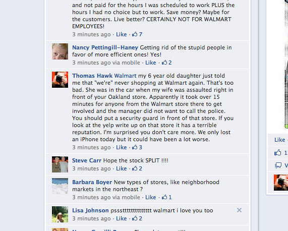 My Comment on Walmart's Facebook Page