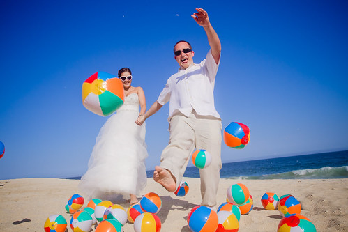 fun beach balls wedding picture