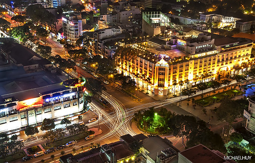 Nguyen Hue Square, Saigon by night.
