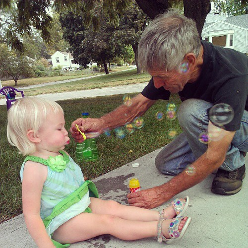 Blowing bubbles with Grampaw