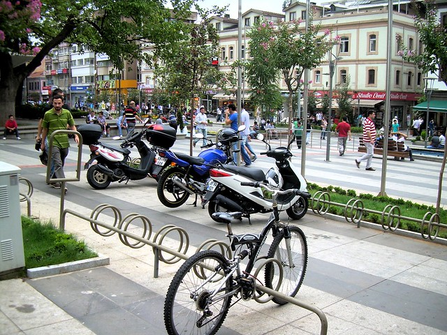Bike racks are a very rare thing to see in Turkey by bryandkeith on flickr