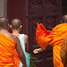 Monk going back to the wat phra kaew