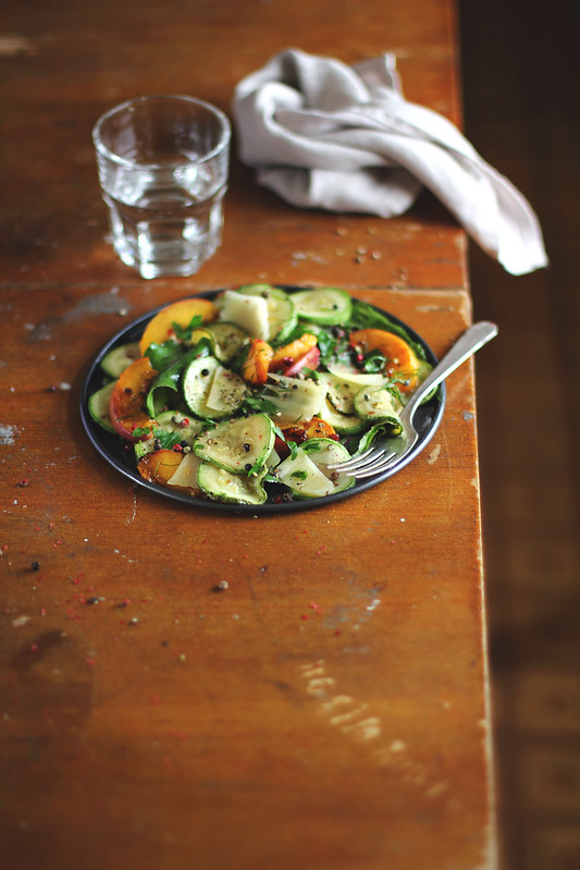 Courgette&Peach Salad with Parmesan Cheese