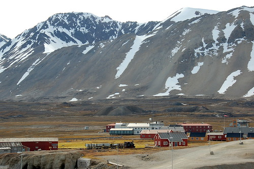 town and mountains of Svalbard Norway