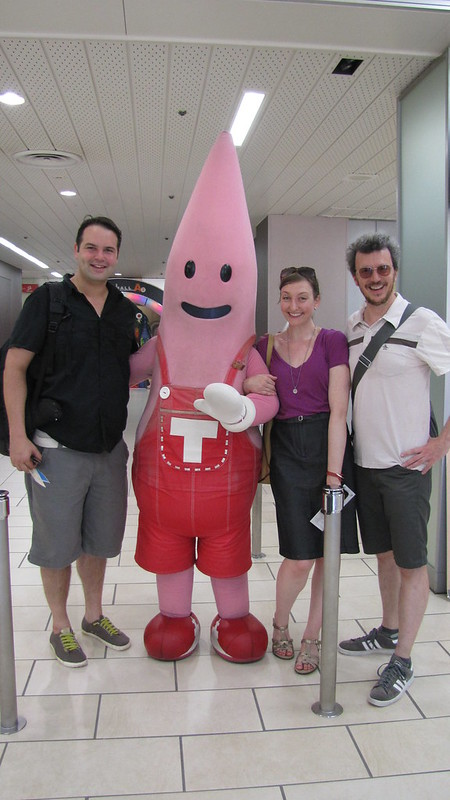 Alex, Mary and James with the mascot of the Tokyo Tower.