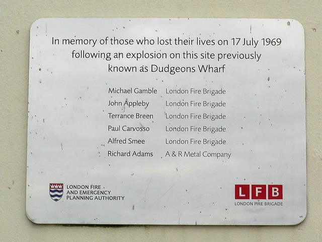 Brushed metal plaque № 11375 - In memory of those who lost their lives on 17 July 1969 following an explosion on this site previously known as Dudgeons Wharf    Michael Gamble London Fire Brigade  John Appleby London Fire Brigade  Terrance Breen London Fire Brigade  Paul Carvosso London Fire Brigade  Alfred Smee London Fire Brigade  Richard Adams A&R Metal Company