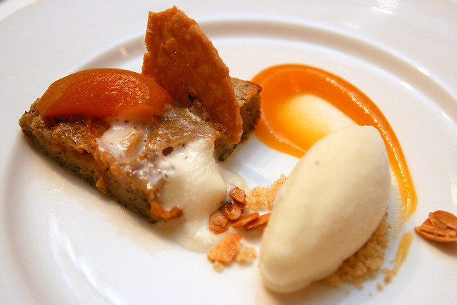 Apricot Clafoutis with almond tuille, honey marinated apricots, bourbon foam and almond ice cream