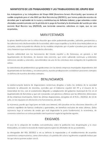 MANIFIESTO DE LOS TRABAJADORES Y LAS TRABAJADORAS DEL GRUPO BSM