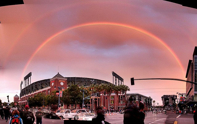 enormous double rainbow over the ballpark