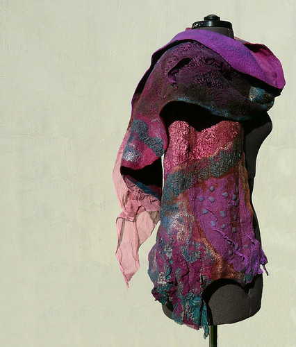 Felted scarf nuno felt Purple Brown Dusty pink by JaneBoFELT by Jane Bo