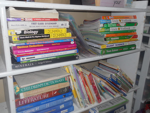 Homeschool Books on Shelf