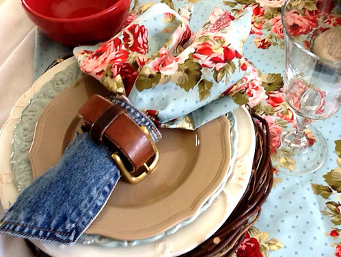 denim silverware holder