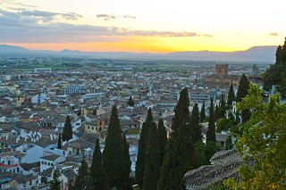 Atardecer desde la terraza del Alhamabra Palace.