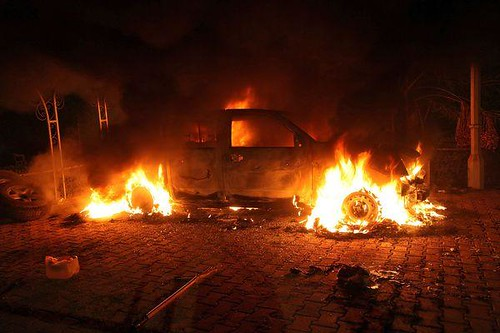 Scene outside the United States Consulate in Benghazi, Libya after the building was bombed. The U.S. ambassador and three other personnel were killed in the attacks. by Pan-African News Wire File Photos