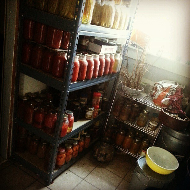 #pantry shelves filling. Happy sight. #largefamily #homesteading