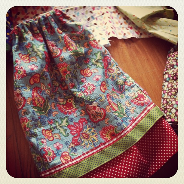 Sewing! This garden skirt will be hitting the shop soon @spiralgarden