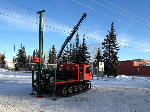 tracked drill rig with picker crane